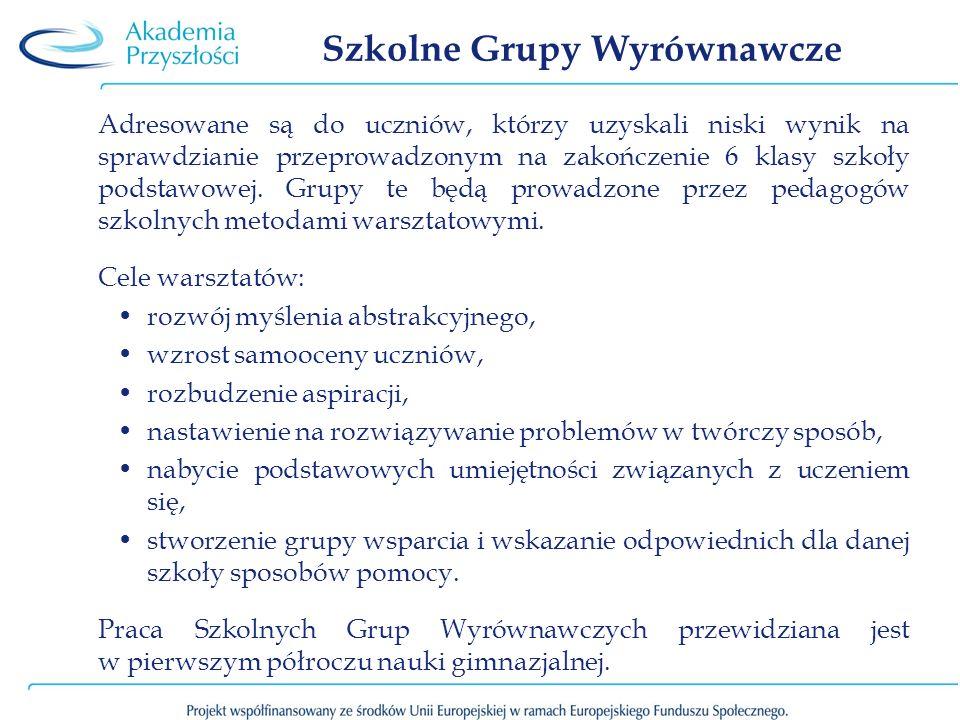 Szkolne Grupy Wyrównawcze