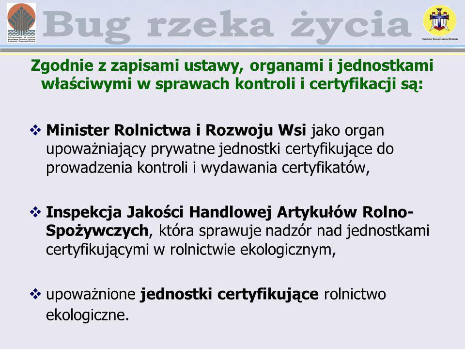 Zgodnie z zapisami ustawy, organami i jednostkami właściwymi w sprawach kontroli i certyfikacji są: