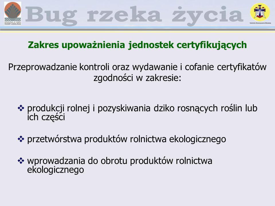 Zakres upoważnienia jednostek certyfikujących Przeprowadzanie kontroli oraz wydawanie i cofanie certyfikatów zgodności w zakresie: