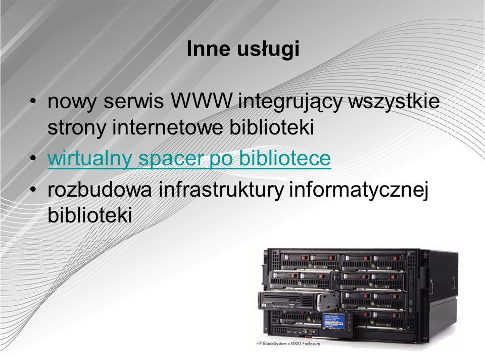 Inne usługinowy serwis WWW integrujący wszystkie strony internetowe biblioteki. wirtualny spacer po bibliotece.