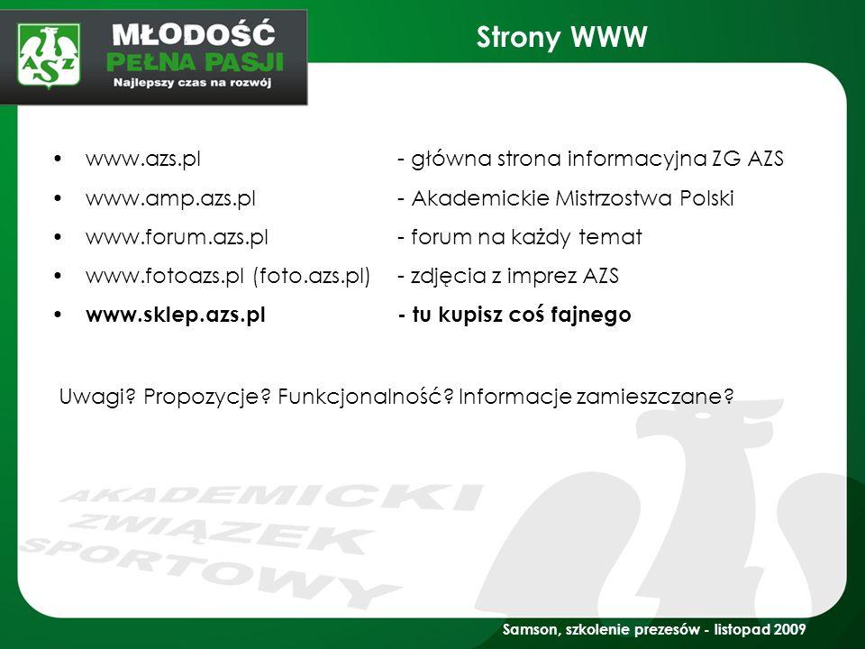 Strony WWW www.azs.pl - główna strona informacyjna ZG AZS
