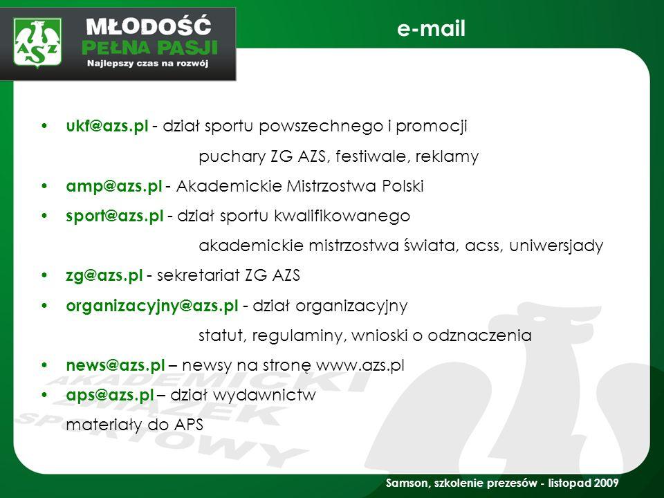 e-mail ukf@azs.pl - dział sportu powszechnego i promocji
