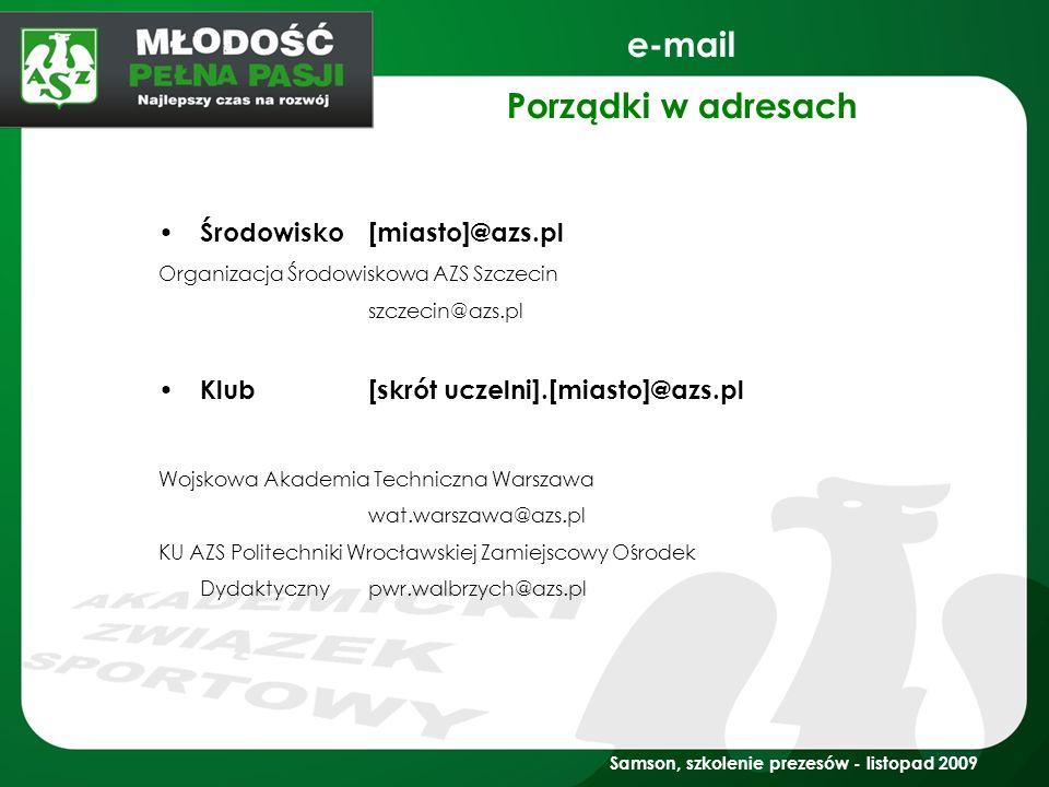 e-mail Porządki w adresach