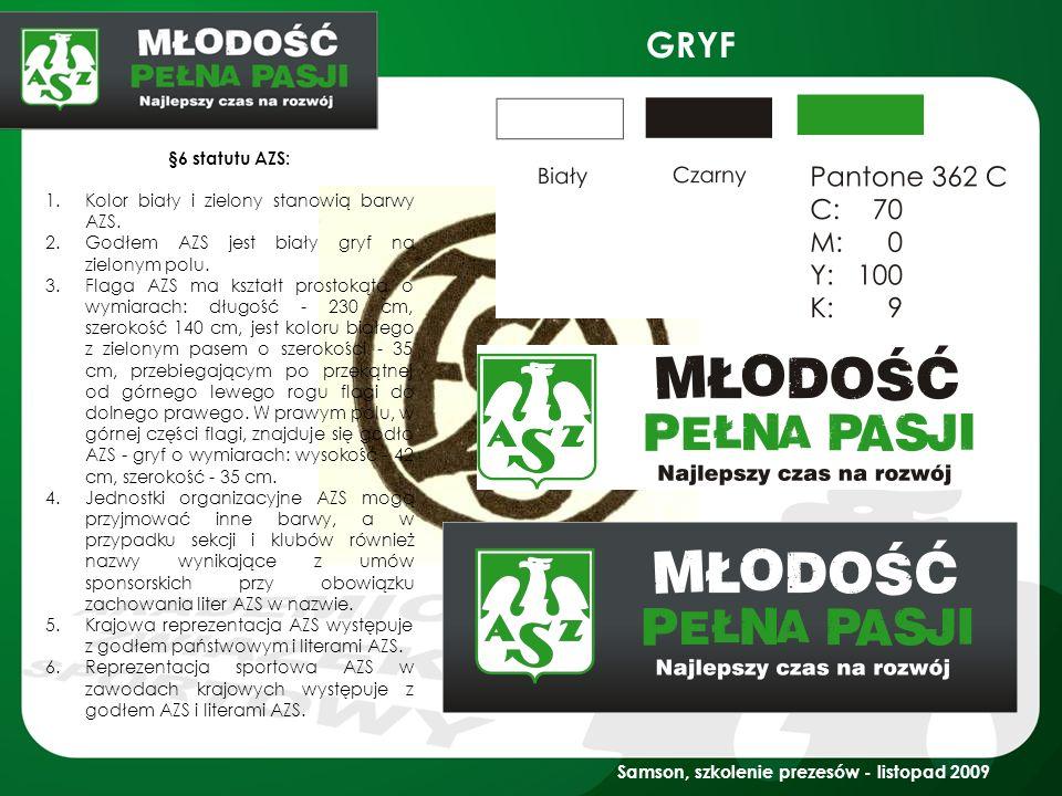 GRYF §6 statutu AZS: Kolor biały i zielony stanowią barwy AZS.