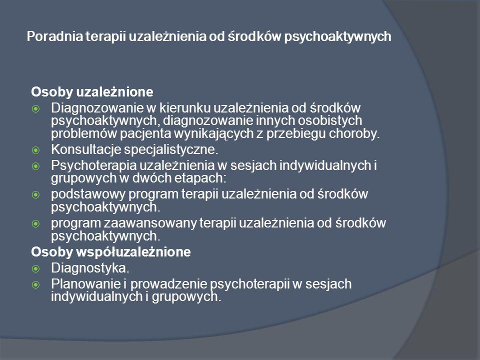 Poradnia terapii uzależnienia od środków psychoaktywnych