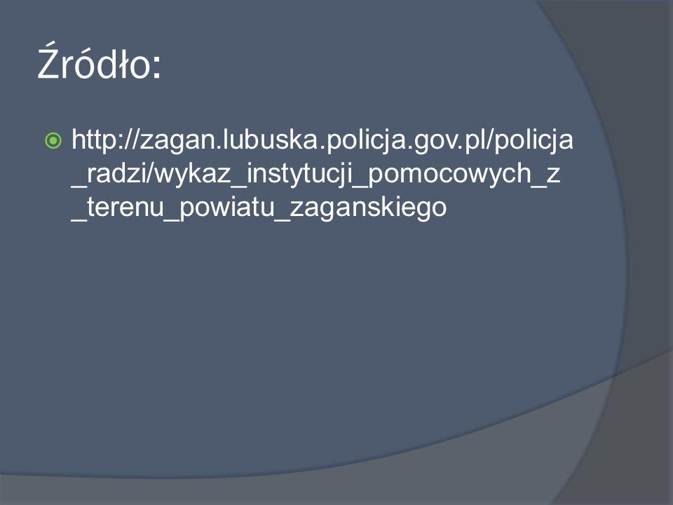 Źródło: http://zagan.lubuska.policja.gov.pl/policja_radzi/wykaz_instytucji_pomocowych_z_terenu_powiatu_zaganskiego.
