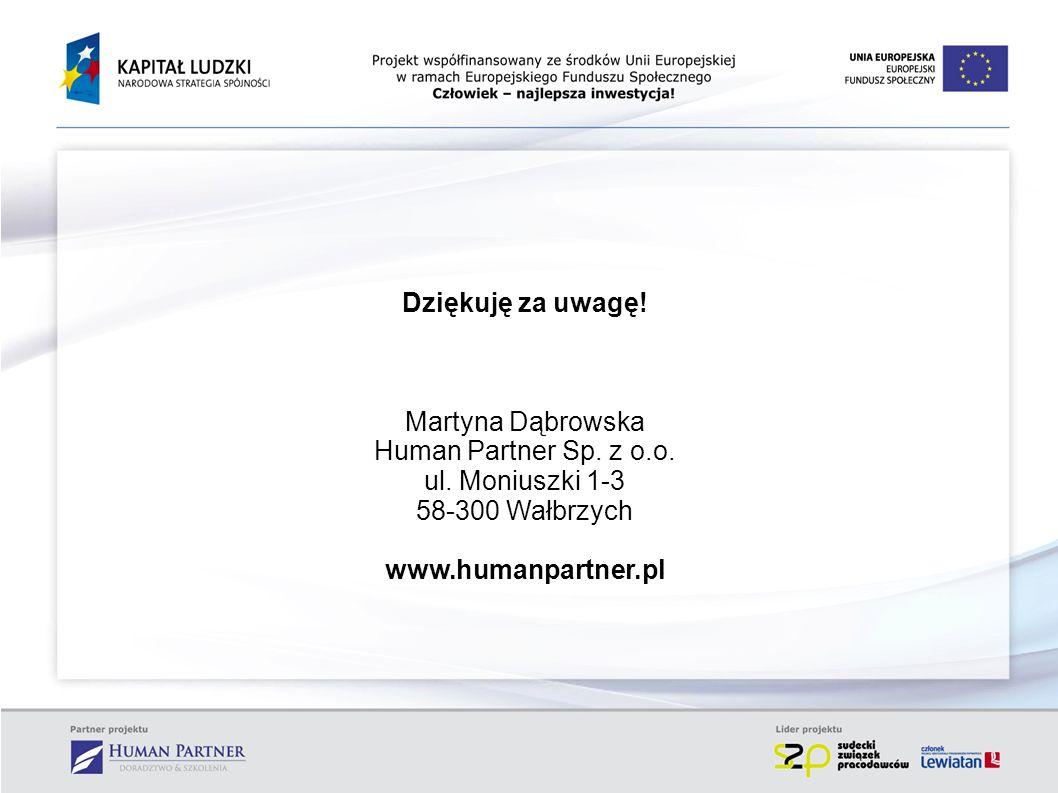 Dziękuję za uwagę! Martyna Dąbrowska. Human Partner Sp. z o.o. ul. Moniuszki 1-3. 58-300 Wałbrzych.