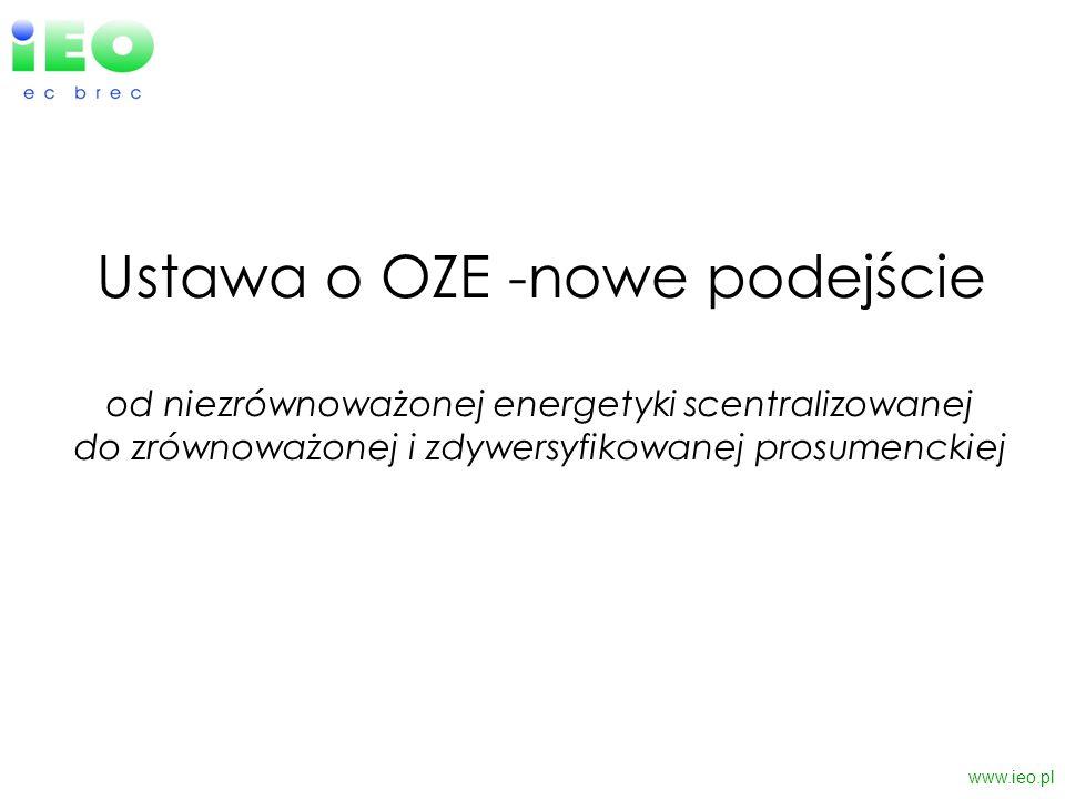 Ustawa o OZE -nowe podejście od niezrównoważonej energetyki scentralizowanej do zrównoważonej i zdywersyfikowanej prosumenckiej