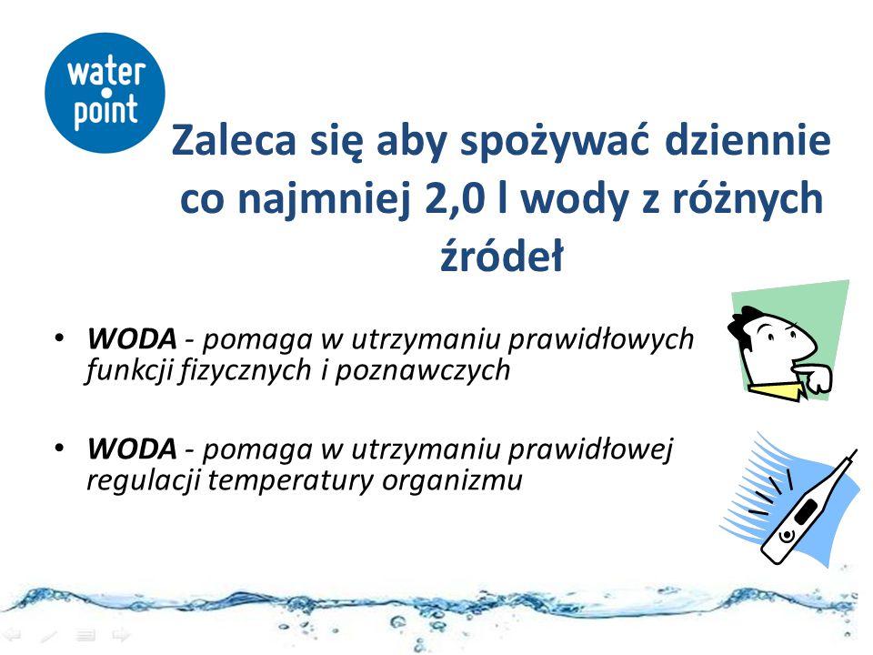 Zaleca się aby spożywać dziennie co najmniej 2,0 l wody z różnych źródeł