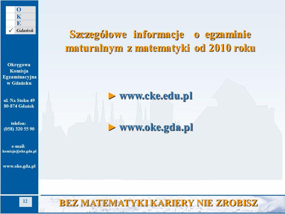 Szczegółowe informacje o egzaminie maturalnym z matematyki od 2010 roku