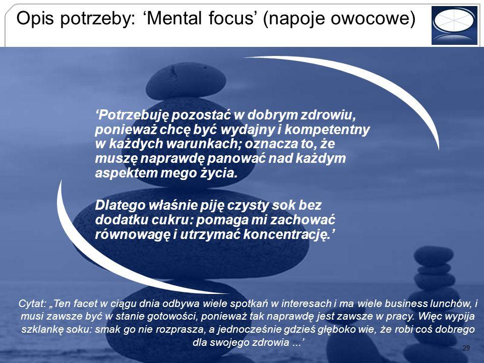 Opis potrzeby: 'Mental focus' (napoje owocowe)