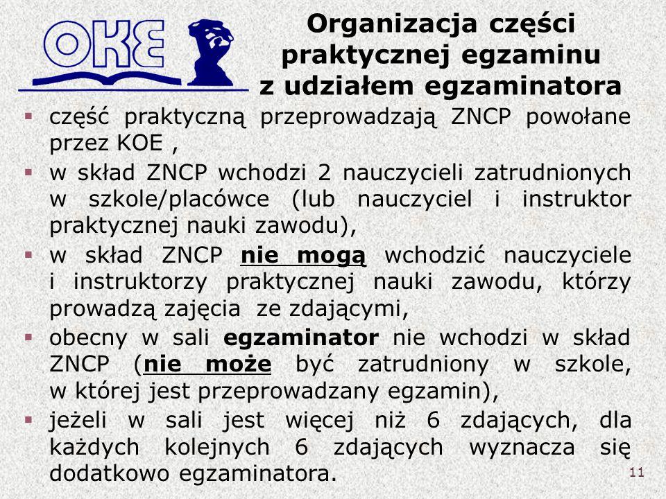 Organizacja części praktycznej egzaminu z udziałem egzaminatora