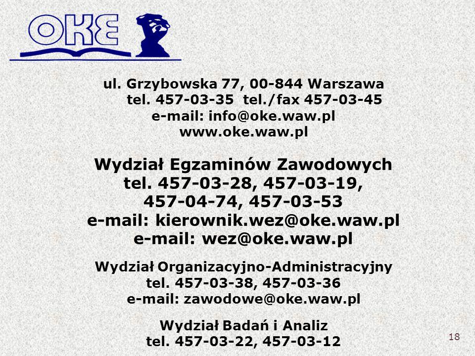 Wydział Egzaminów Zawodowych tel. 457-03-28, 457-03-19,