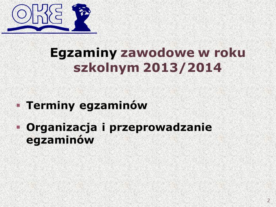 Egzaminy zawodowe w roku szkolnym 2013/2014