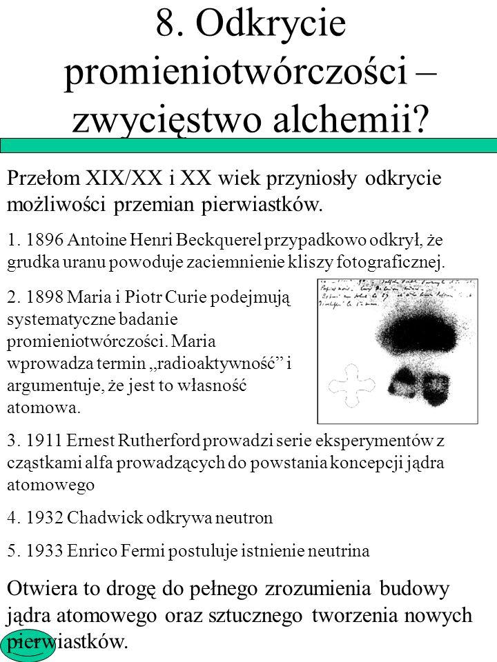 8. Odkrycie promieniotwórczości – zwycięstwo alchemii
