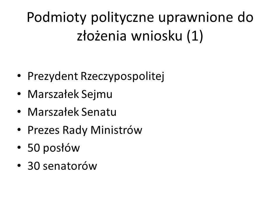 Podmioty polityczne uprawnione do złożenia wniosku (1)