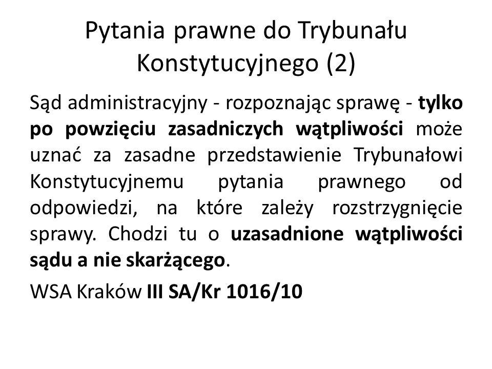 Pytania prawne do Trybunału Konstytucyjnego (2)