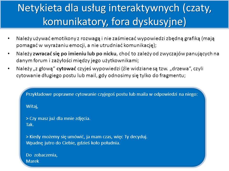 Netykieta dla usług interaktywnych (czaty, komunikatory, fora dyskusyjne)