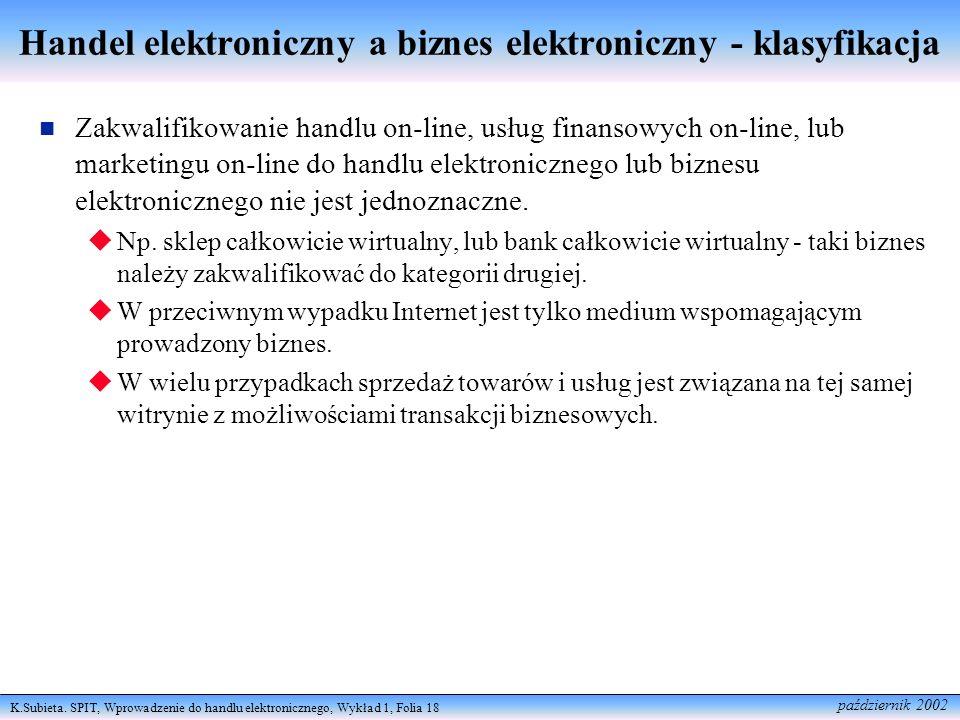 Handel elektroniczny a biznes elektroniczny - klasyfikacja