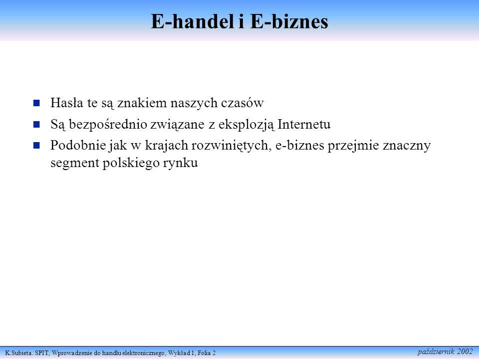 E-handel i E-biznes Hasła te są znakiem naszych czasów