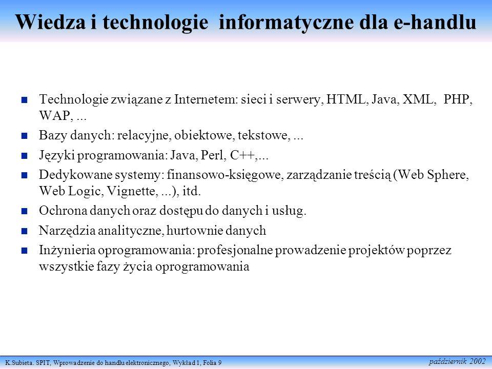 Wiedza i technologie informatyczne dla e-handlu