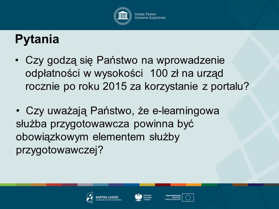 Pytania Czy godzą się Państwo na wprowadzenie odpłatności w wysokości 100 zł na urząd rocznie po roku 2015 za korzystanie z portalu