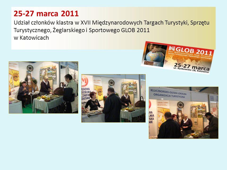 25-27 marca 2011 Udział członków klastra w XVII Międzynarodowych Targach Turystyki, Sprzętu Turystycznego, Żeglarskiego i Sportowego GLOB 2011 w Katowicach