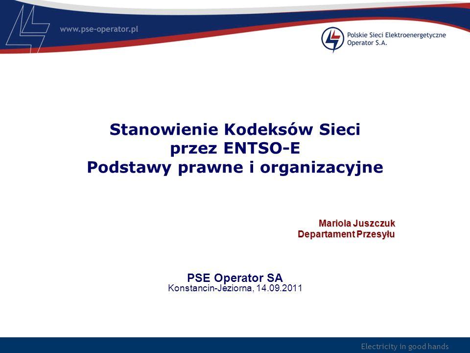 Stanowienie Kodeksów Sieci przez ENTSO-E Podstawy prawne i organizacyjne