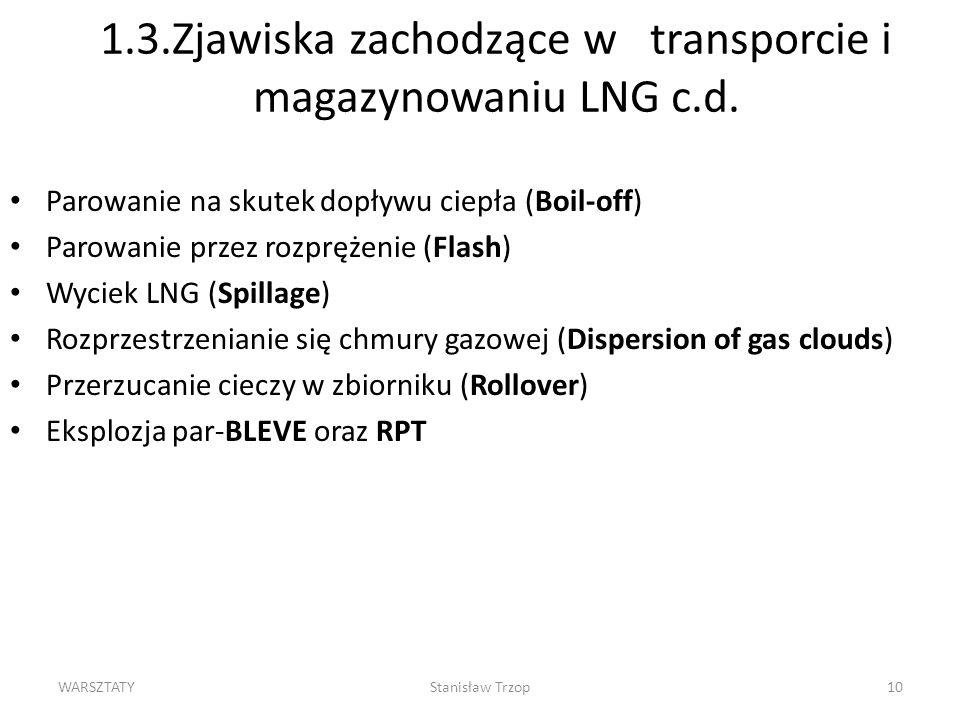 1.3.Zjawiska zachodzące w transporcie i magazynowaniu LNG c.d.