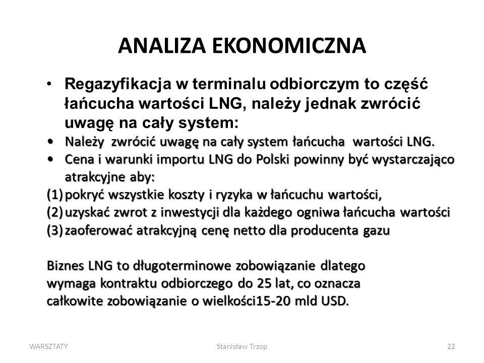 ANALIZA EKONOMICZNA Regazyfikacja w terminalu odbiorczym to część łańcucha wartości LNG, należy jednak zwrócić uwagę na cały system: