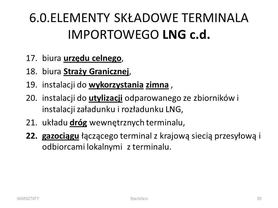 6.0.ELEMENTY SKŁADOWE TERMINALA IMPORTOWEGO LNG c.d.