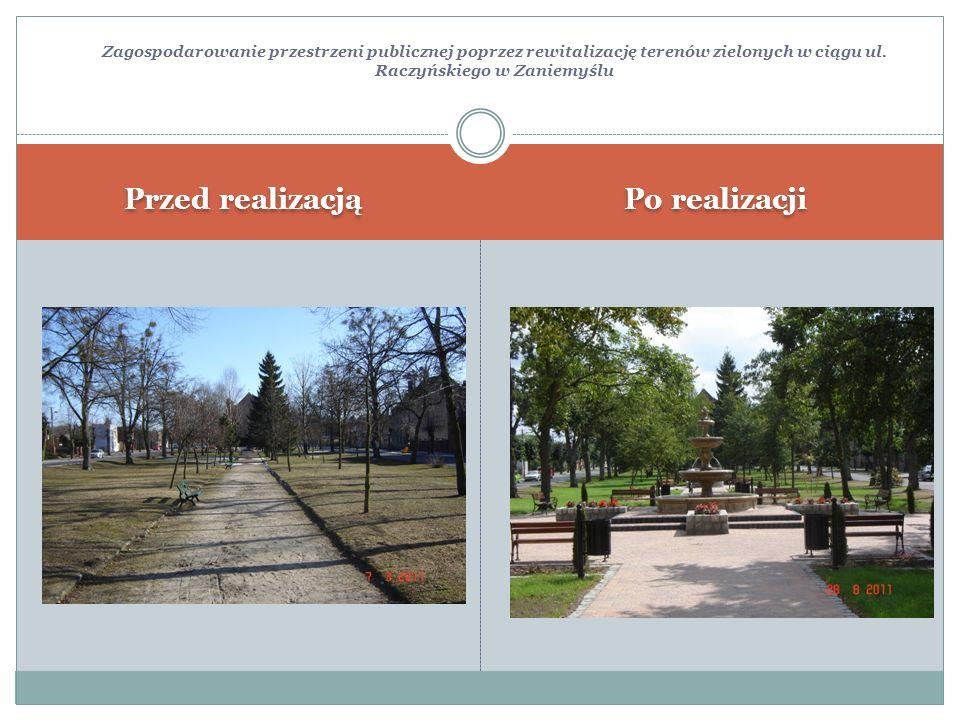 Zagospodarowanie przestrzeni publicznej poprzez rewitalizację terenów zielonych w ciągu ul. Raczyńskiego w Zaniemyślu