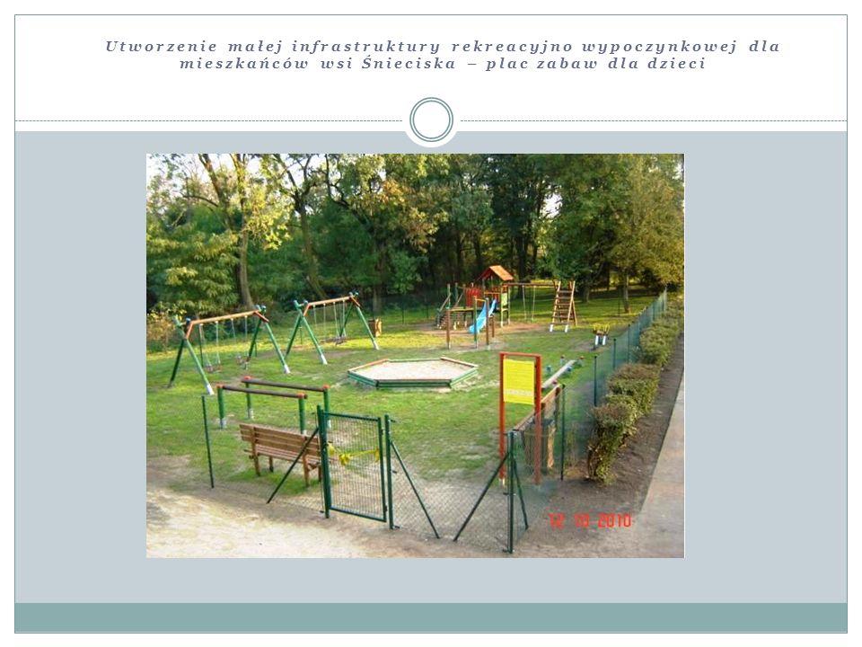 Utworzenie małej infrastruktury rekreacyjno wypoczynkowej dla mieszkańców wsi Śnieciska – plac zabaw dla dzieci