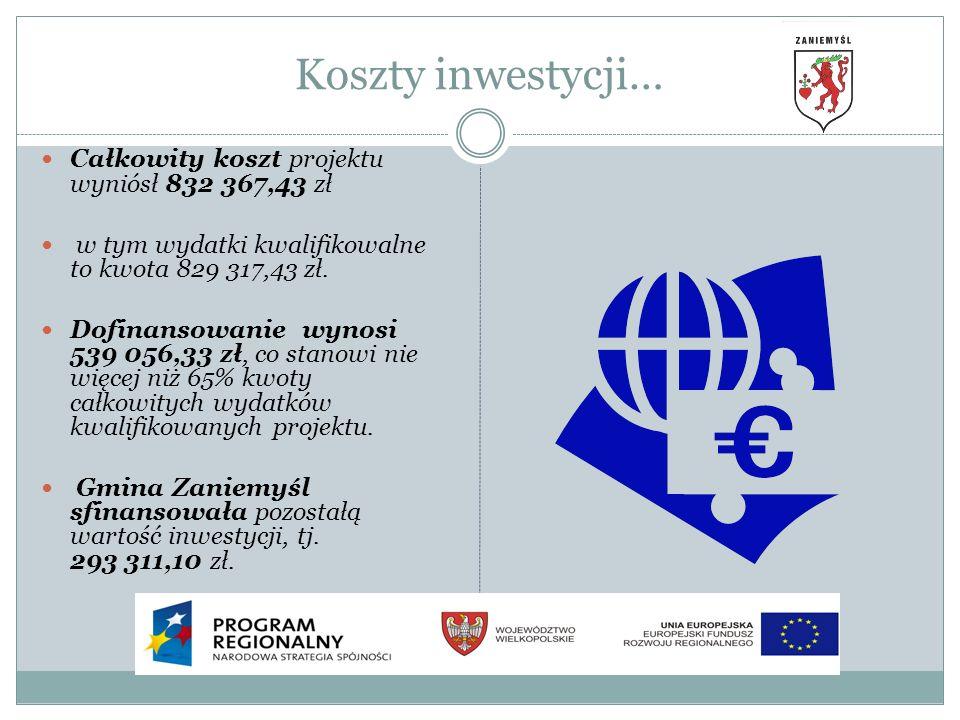Koszty inwestycji… Całkowity koszt projektu wyniósł 832 367,43 zł
