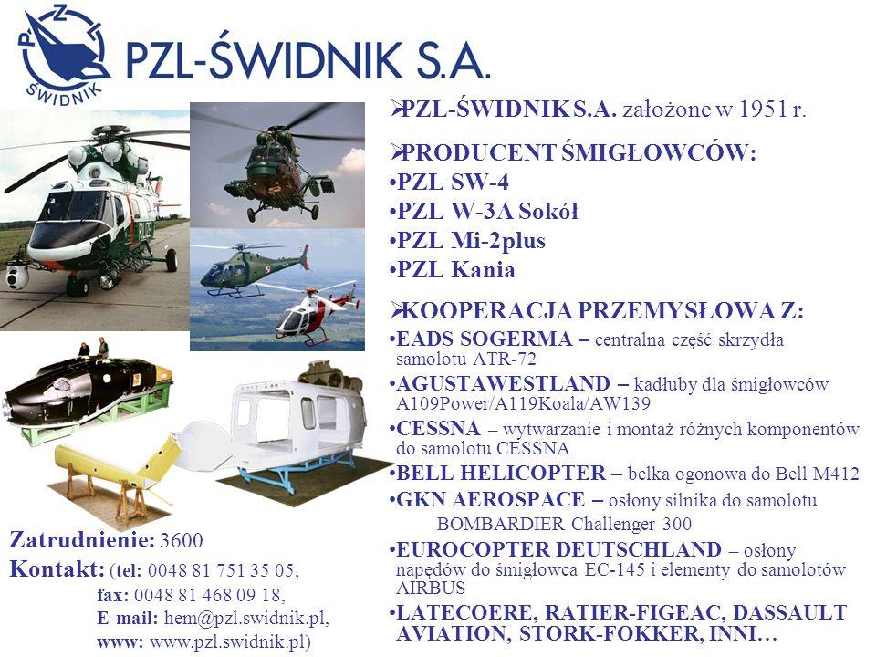 PZL-ŚWIDNIK S.A. założone w 1951 r. PRODUCENT ŚMIGŁOWCÓW: PZL SW-4