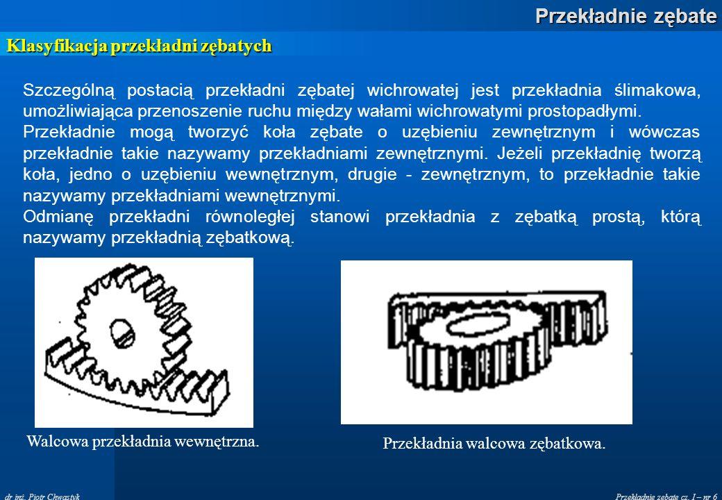 Klasyfikacja przekładni zębatych