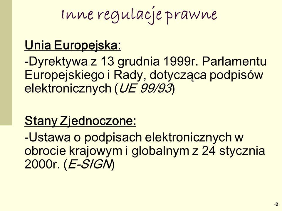 Inne regulacje prawne Unia Europejska: