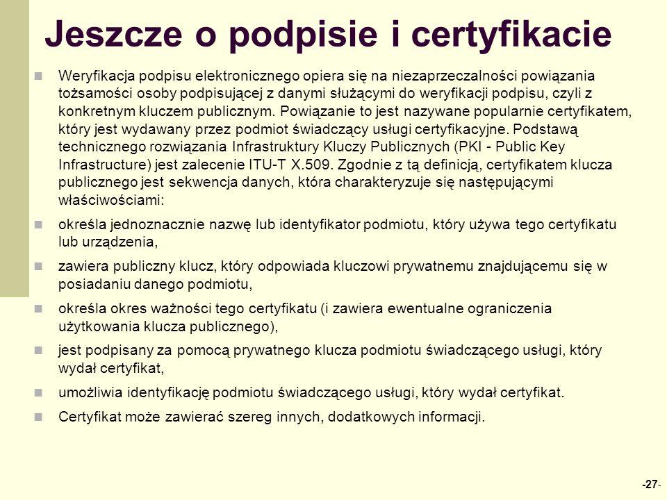 Jeszcze o podpisie i certyfikacie