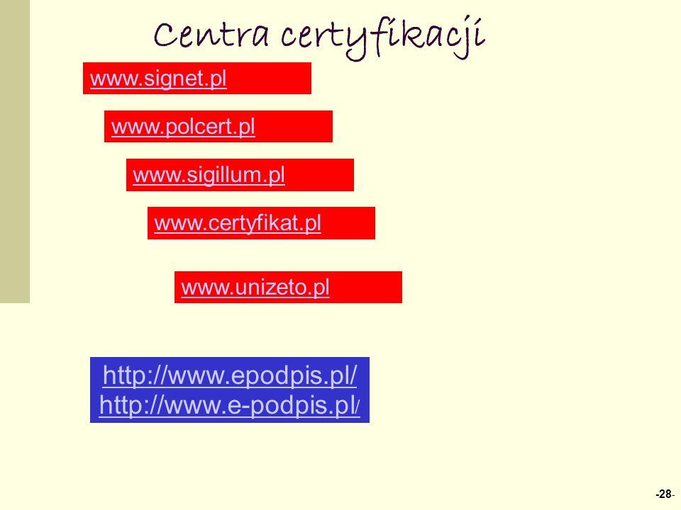 Centra certyfikacji http://www.epodpis.pl/ http://www.e-podpis.pl/