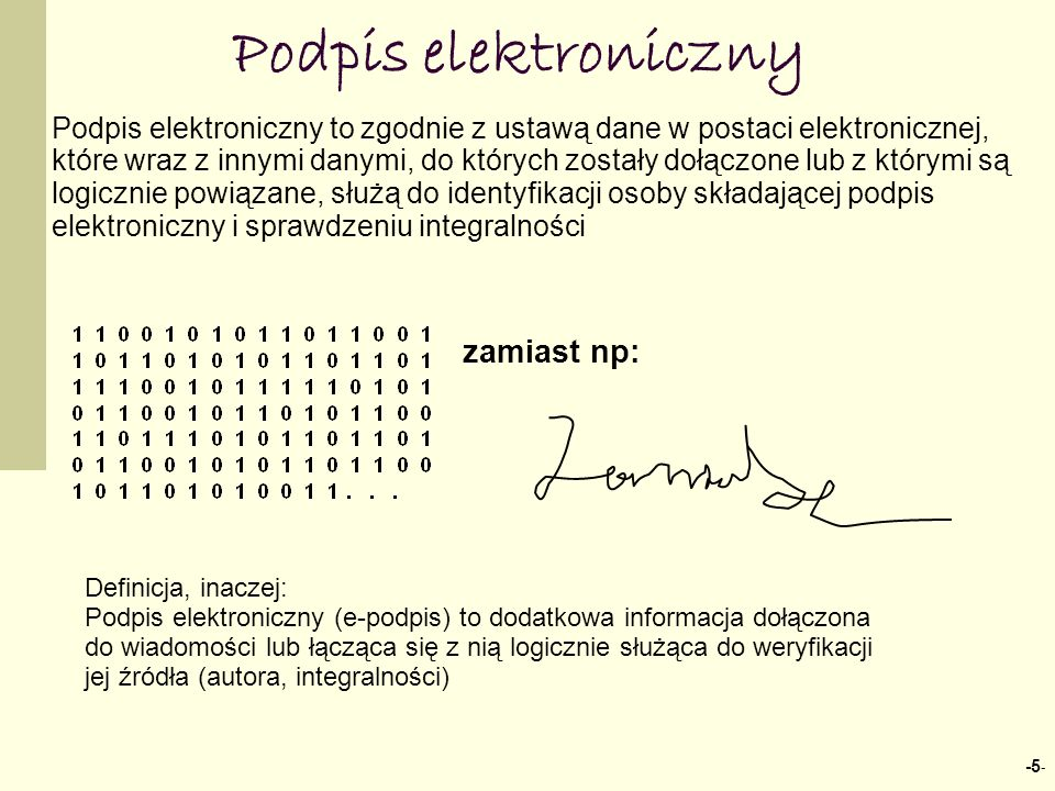 Podpis elektroniczny zamiast np: