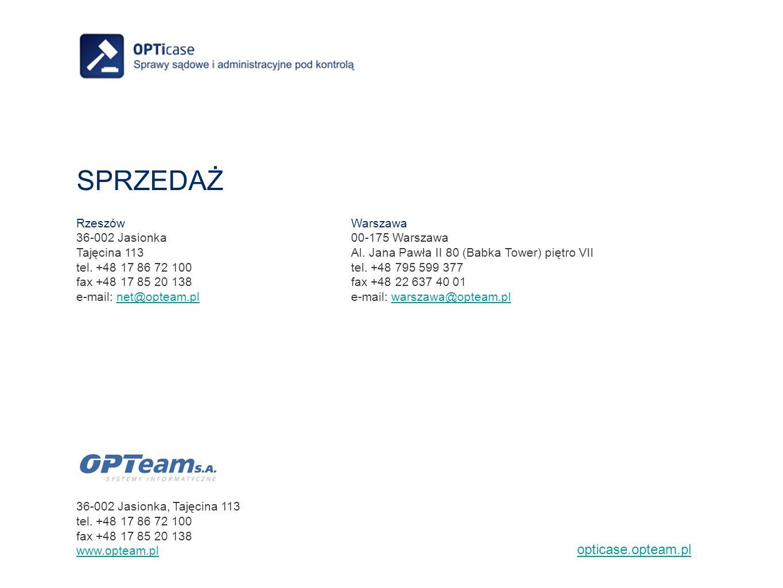 SPRZEDAŻ opticase.opteam.pl Rzeszów 36-002 Jasionka Tajęcina 113