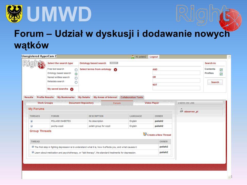 UMWD Forum – Udział w dyskusji i dodawanie nowych wątków