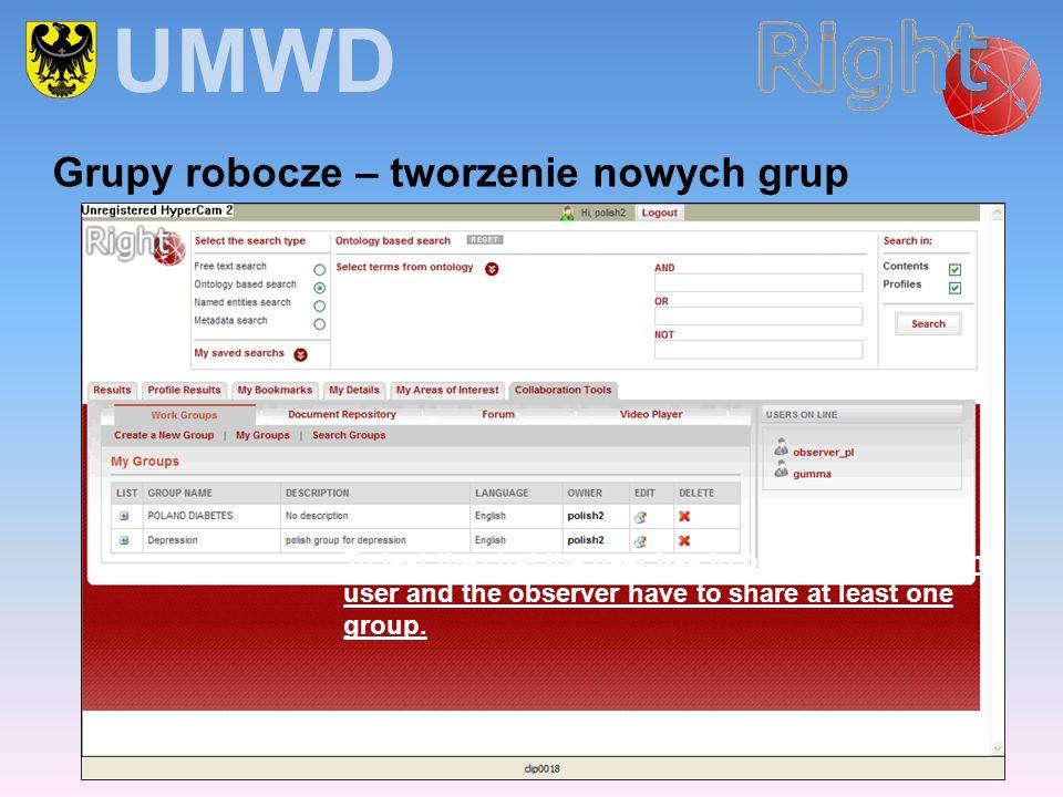 UMWD Grupy robocze – tworzenie nowych grup