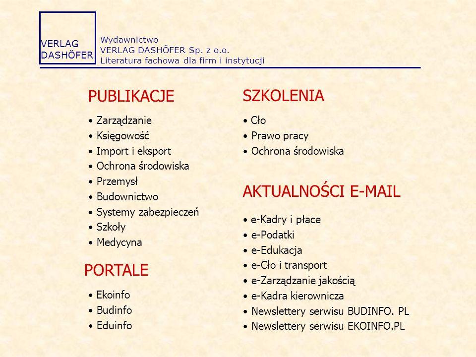 PUBLIKACJE SZKOLENIA AKTUALNOŚCI E-MAIL PORTALE Zarządzanie Księgowość