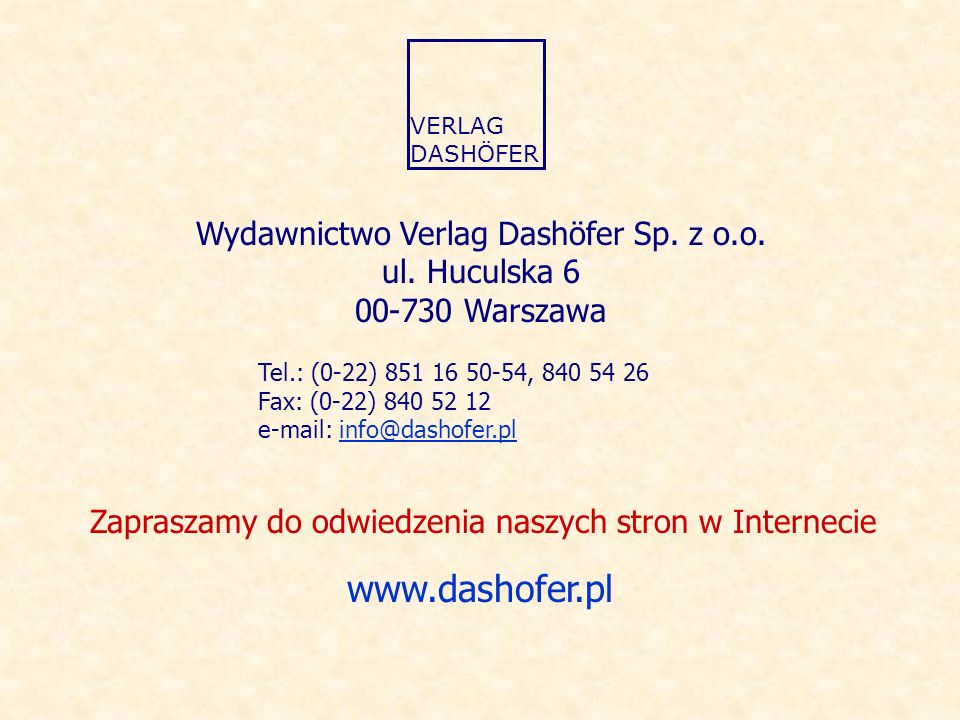 Wydawnictwo Verlag Dashöfer Sp. z o.o.