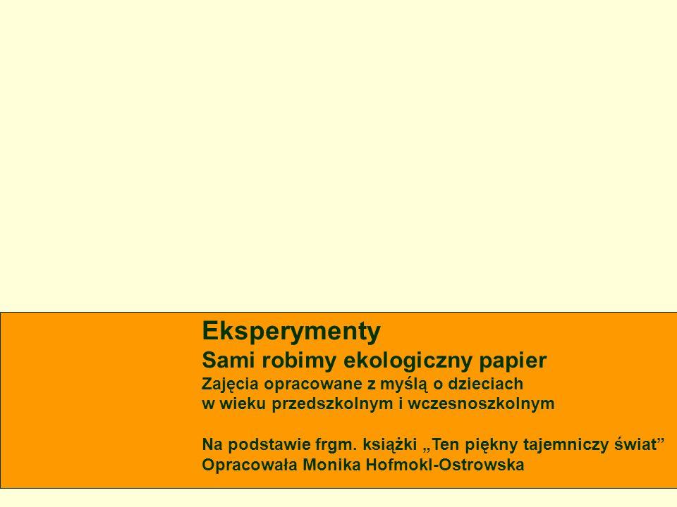 Eksperymenty Sami robimy ekologiczny papier