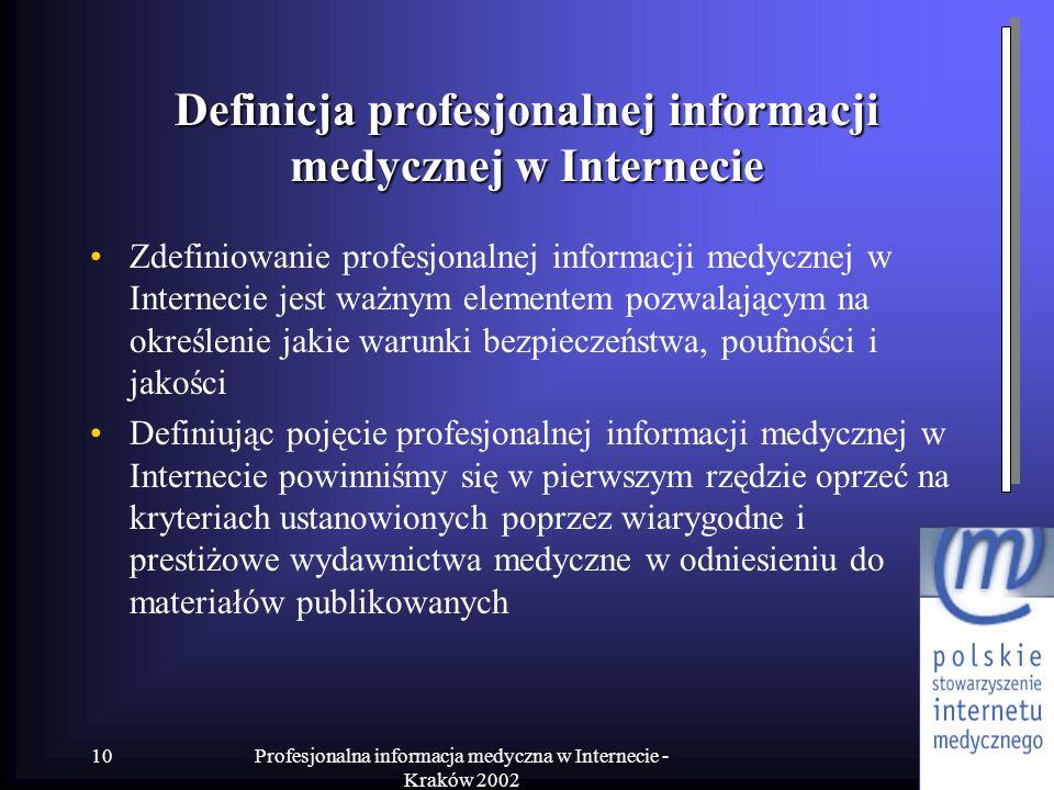 Definicja profesjonalnej informacji medycznej w Internecie