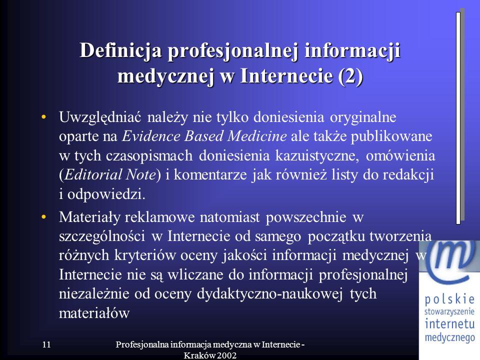 Definicja profesjonalnej informacji medycznej w Internecie (2)