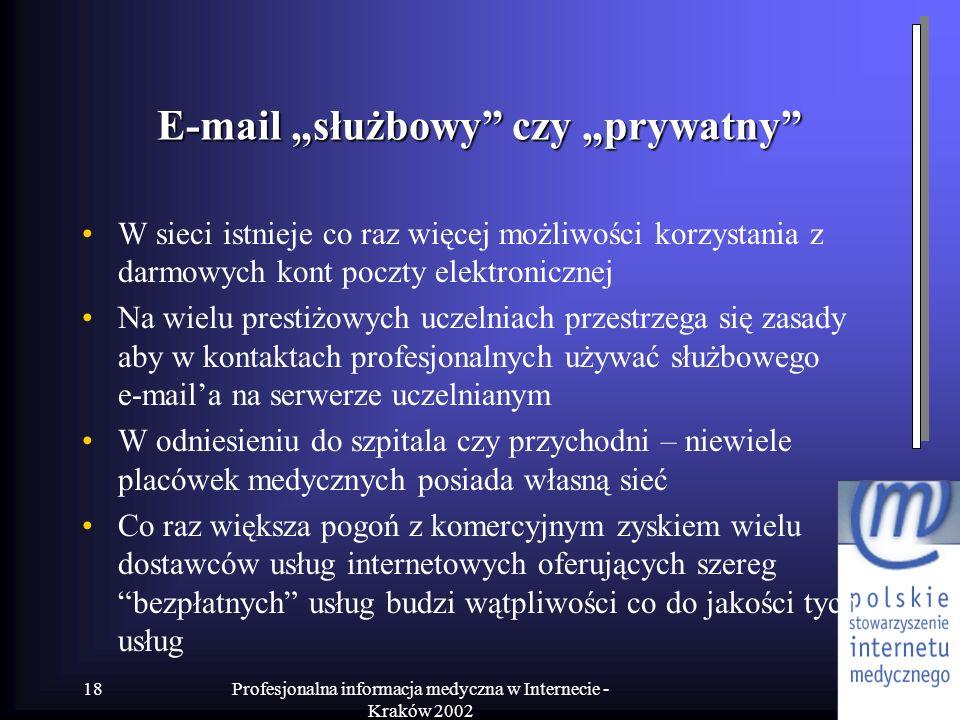 """E-mail """"służbowy czy """"prywatny"""