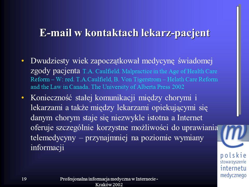 E-mail w kontaktach lekarz-pacjent